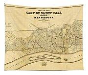 Map Of Saint Paul 1852 Tapestry