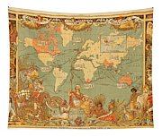 Map Of The Extent Of The British Empire 1886  Tapestry