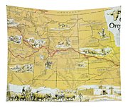 Map Of The Old Oregon Trail Tapestry