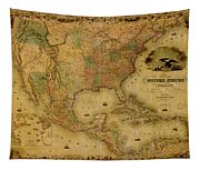 Map Of The United States 1849 Tapestry