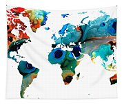 Map Of The World 6 -colorful Abstract Art Tapestry