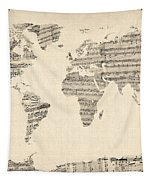 Map Of The World Map From Old Sheet Music Tapestry by Michael Tompsett