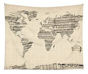 Map Of The World Map From Old Sheet Music Tapestry
