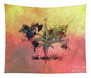 Map Of The World Wind Rose 1 Tapestry
