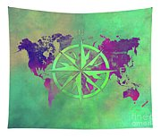 Map Of The World Wind Rose 3 Tapestry
