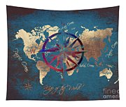 Map Of The World Wind Rose 4 Tapestry