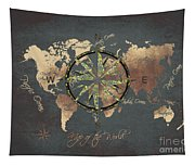 Map Of The World Wind Rose 5 Tapestry