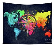 Map Of The World Wind Rose 6 Tapestry