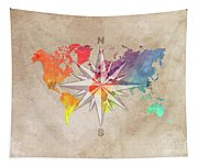 Map Of The World Wind Rose 7 Tapestry
