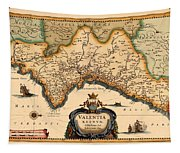 Map Of Valencia 1634 Tapestry