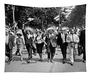 Marchers Wearing Hats Carry Puerto Rican Flags Down Constitution Avenue Tapestry