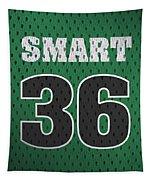 Marcus Smart Boston Celtics Number 36 Retro Vintage Jersey Closeup Graphic Design Tapestry