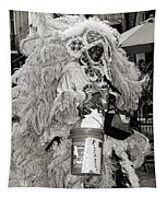 Mardi Gras Indian In Pirates Alley In Black And White Tapestry