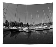 Marina On Lake Murray S C Black And White Tapestry