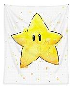 Mario Invincibility Star Watercolor Tapestry