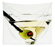 Martini With Green Olive Tapestry