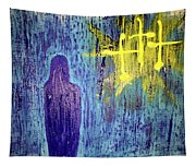 Mary And The Crosses Tapestry