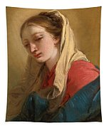 Mary Magdalene In Three-quarter View Veiled In A White Cloth Tapestry