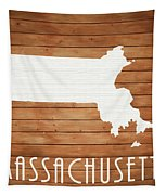 Massachusetts Rustic Map On Wood Tapestry
