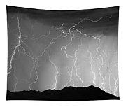 Massive Monsoon Lightning Storm Bw Tapestry