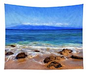 Maui Beach And View Of Lanai Tapestry