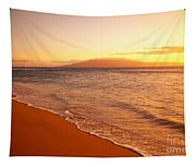 Maui, Hazy Orange Sunset Tapestry