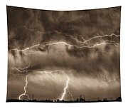 May Showers - Lightning Thunderstorm Sepia Hdr Tapestry