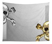 Memento Mori - Gold And Silver Human Skulls And Bones On White Canvas Tapestry