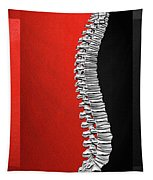 Memento Mori - Silver Human Backbone Over Red And Black Canvas Tapestry