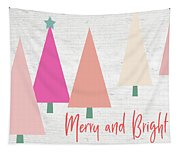 Merry And Bright Trees- Art By Linda Woods Tapestry