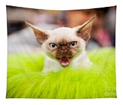 Mew Kitty Funny Mad Face Tapestry