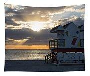Miami Beach Life Guard House Sunrise 2 Tapestry