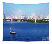 Miami Florida Skyline Tapestry