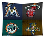 Miami Sports Fan Recycled Vintage Florida License Plate Art Marlins Heat Dolphins Panthers Tapestry