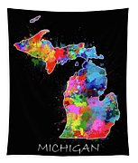 Michigan Map Color Splatter 2 Tapestry
