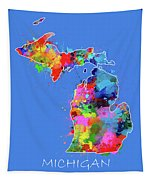 Michigan Map Color Splatter 3 Tapestry
