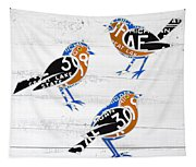 Michigan Robins State Bird Recycled Vintage License Plate Art On White Barn Wood Tapestry