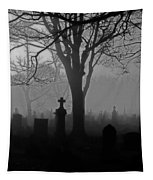 Midnight Graveyard Fog Tapestry