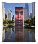 Millennium Park Fountain And Chicago Skyline Tapestry