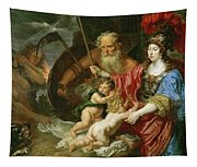 Minerva And Saturn Protecting Art And Science From Envy And Lies  Tapestry