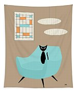 Mini Abstract With Blue Chair Tapestry