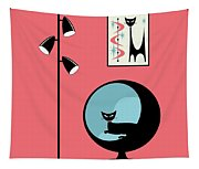 Shower Curtain Mini Atomic Cat On Pink  Tapestry