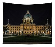 Minnesota Capital At Night Tapestry