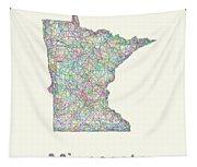 Minnesota Line Art Map Tapestry