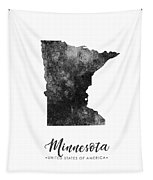 Minnesota State Map Art - Grunge Silhouette Tapestry