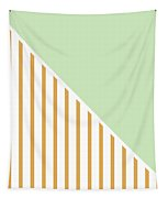 Mint And Gold Geometric Tapestry