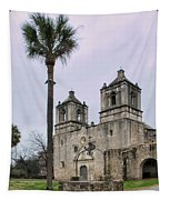Mission Concepcion With Well And Tree Tapestry