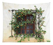 Mission Window With Yellow Flowers Tapestry