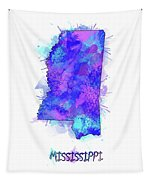 Mississippi Map Watercolor 2 Tapestry