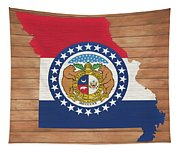 Missouri Rustic Map On Wood Tapestry